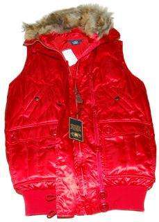Polo Ralph Lauren Womens Down Fur Jacket Vest Red Small