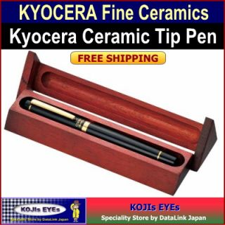 KYOCERA Ceramic Tip Ball Point Pen Executive Black Color w/ Rosewood
