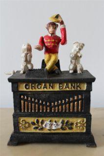 Kyser Rex Organ Bank Mechanical Monkey Cast Iron Bank
