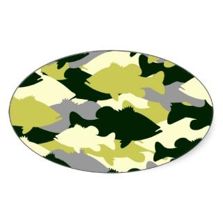 Bass Fishing Green Camo Oval Stickers