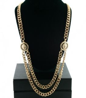 Versace Style Gold Lion Double Link Necklace Chain Jewelry H M Seen on