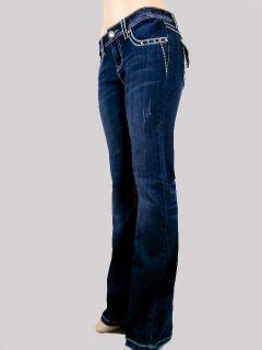 Women La Idol Bootcut Jeans Tribal Paisley Metallic Bold Stitch