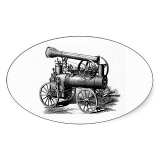 Steam Engine Vintage Illustration Stickers