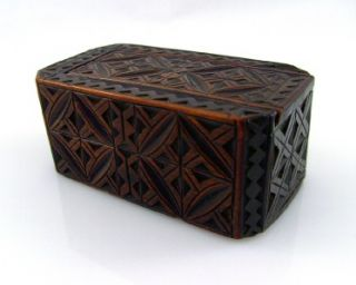 Antique Late 1600s Ornate Carved Bog Oak Jewellery Box Secret