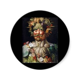 Giuseppe Arcimboldo Vegetable Man (Vertumnus) Round Stickers