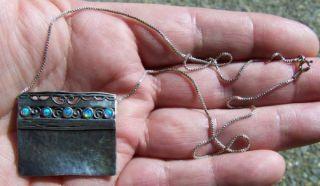 Old Modern Art Sterling Opal Necklace Signed