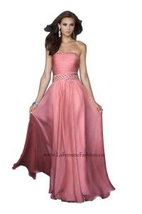 La Femme 17505 Strapless Jewel Embellished Evening Gown Various Colors