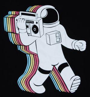Funny Spaceman Crazy Radio Indie T Shirt Stencil Sz M