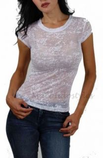 Tank T Shirt Top Cami Burnout White Lacey Casual Short Sleeve