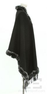La Fiorentina Black Felted Wool Fringe Rabbit Fur Trim Wrap