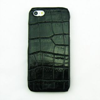 Black Deluxe Crocodile Leather Hard Skin Case Cover for Apple iPhone