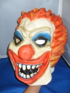 Evil Clown Rubber Face Mask Full Head Halloween Costume