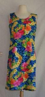 Jams World Floral Hawaiian Tank Dress 9 Medium Blue