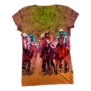 AnimalShirtsUSA Race Horse Fight Womens Top Ladies T Shirt