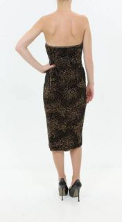 Oscar de La Renta Beaded Chocolate Brown Velvet Strapless Dress