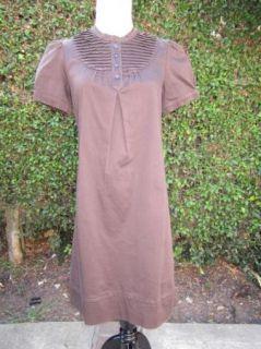 Adorable Chocolate Brown Pintuck A Line Shift Shirt Dress Oscar de La