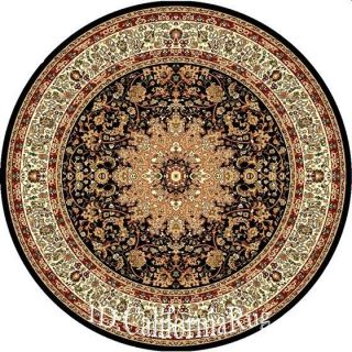 6x6 Round Rug Traditional Persian Oriental Design Black High Quality 5