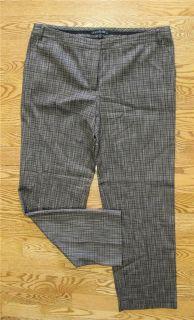 Lafayette 148 Brown Tweed Wool Cotton Stretch Dress Slack 12 New