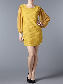 Koko Pinch pleat long sleeve dress Yellow
