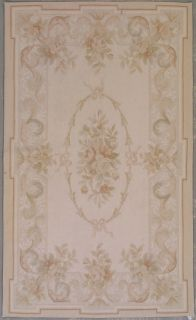 3x5 Pale Beige Aubusson Oriental Hand Knotted Wool Area Rug Carpet $1