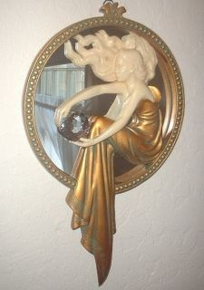 Art Deco Nouveau Lady of The Lake Mirror Gold