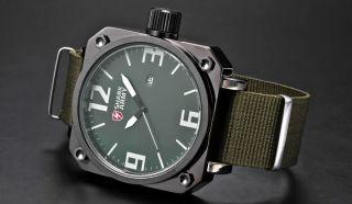 Genuine Shark Mens Military Army Green Nylon Date Analog Sport Quartz