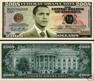 President Barack Obama 2008 Dollar Bill 2 $1 00