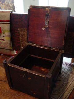 Antique Vintage Folk Art Tramp Art Wooden Chest Trunk Box by Craftsman