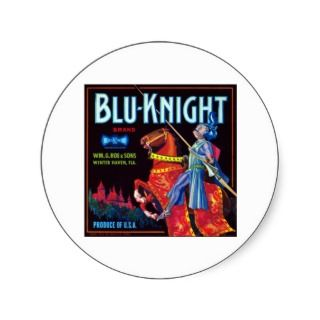 Blue Knight Brand Round Sticker