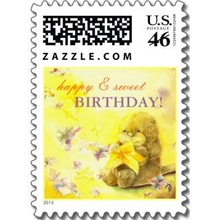 Baby Otter & Starfish Happy Birthday Wishes Stamps by daphne1024