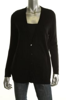 Jones New York New Black Silk Cashmere Ribbed Trim V Neck Cardigan