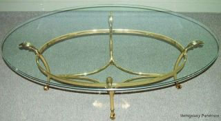 6066 Labarge Brass Glass Cocktail Coffee Table Hollywood Regency