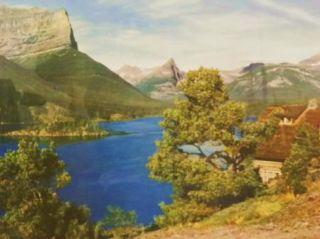 Tinted Great Northern Railroad Photo Glacier Park Lake St Mary