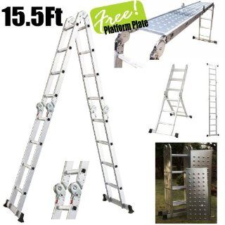 Multi Purpose Aluminum Folding Step Ladder 15 5ft Tools Foldable Handy