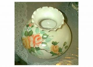 VINTAGE HANDPAINTED WHITE PEACH PINK YELLOW ROSES GLASS GLOBE SHADE