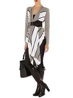 Karen Millen Drape front striped cardigan Grey