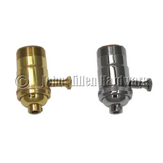 Solid Brass Lamp Socket with Full Range DImmer, Polished Brass or