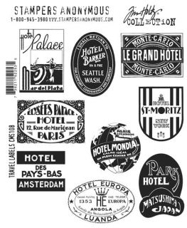Tim Holtz Cling Rubber Stamp Set CMS108 Travel Labels