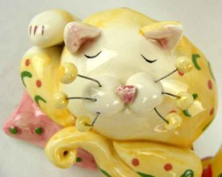 Amy Lacombe Signed Pair of Cat Figurines Sleeping Kitty Plays Music