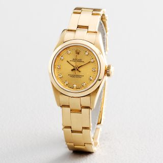 Ladies Rolex Oyster Perpetual Solid 18K Yellow Gold Watch Diamond