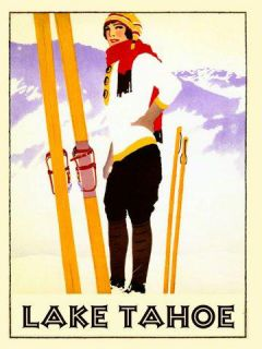Lake Tahoe Lady Girl Skis Ski Winter Sport Skiing Vintage Poster Repro