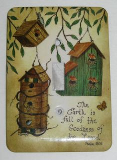 Metal Bird House Single Light Switch Plate Cover Psalm 33 5