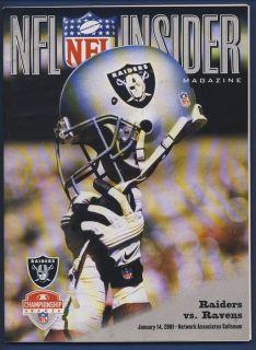 2000 AFC Championship Game Oakland Raiders vs Baltimore Ravens Program