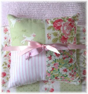 Little Lambs Roses Pink Chenille Baby Quilt Bedding