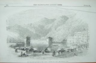Port and Lake Como Italy 1859 Antique Print