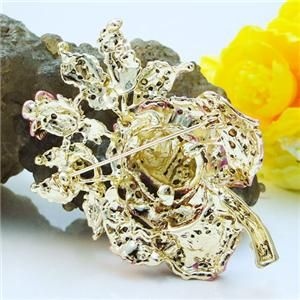 Flower Rose Bud Leaf Brooch Pin Lapel Swarovski Crystal