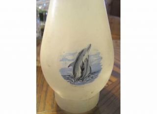 DOLPHINS HURRICANE LAMP KEROSENE FROSTED WHITE GLASS GLOBE SHADE