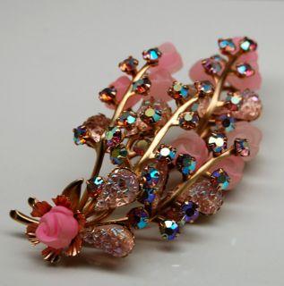 Large Vintage Juliana AB Pink Rhinestone Floral Brooch