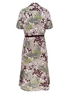 Eastex Rainforest print belted shirt dress Purple