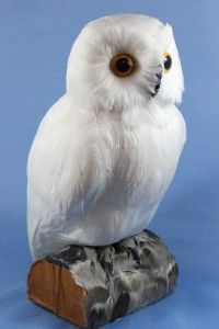 New Large Perched White Wise Hoot Owl Statue Figurine w Feathers Faux